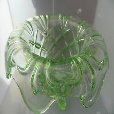 Large Green Glass Flower Posy 13 cm Tall Bowl  or Centre Piece UNUSUAL Art Deco