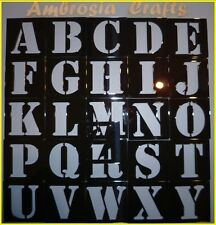 ALPHABET STENCILS - SET OF 26 PLASTIC FORM CAPITAL LETTERS - LETTER HEIGHT 25mm