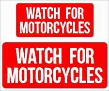 """(2)sets """"Watch for Motorcycles""""  Bumper Sticker Vehicle Graphics Window Decal"""