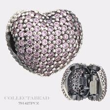 Authentic Pandora Silver Open My Heart Pink CZ Pave Clip 791427PCZ
