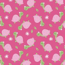 Fabric Turtles on Pink Flannel By The 1/4 yard BIN