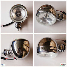 1x Metal Chrome Vintage Bike Retro Headlight Front Fog Light Head Lamp Light 12V