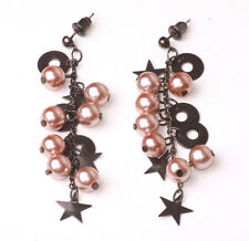 SPARKLY DROP EARRINGS BROWN PEARL 'GRAPEVINE' & STARS/CIRCLES CHARMS (ZX23)