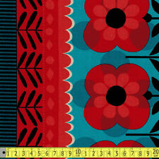 Kokka Fabric Retro 60s Flower Border Red PER METRE Vintage 1960s Groovy Floral F