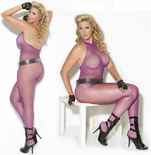 Purple Halter Neck Bodystocking, Elegant Moments, Sexy Lingerie, Plus Size 14-18