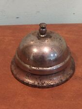 Antique Vintage Nickel Plated Steel Hotel Lobby Store Service Bell