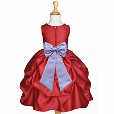 CHRISTMAS RED HOLIDAY PARTY DRESS FLOWER GIRL PAGEANT WEDDING RECITAL BIRTHDAY