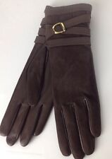 Ralph Lauren Purple Label Leather Gloves 7.5 Brown Long Cashmere Lined New