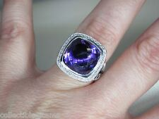 DAVID YURMAN ALBION 14MM AMETHYST STERLING SILVER DIAMOND RING SIZE 7