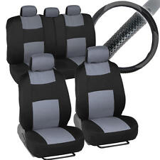 Gray Full Set of Deluxe Car Low Back Seat Covers w/ Rubber Steering Wheel Cover