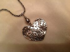 Silpada pendant necklace N 1585 retired SS oxidized rope chain & filigree heart