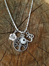 Life is Good Karma Bodhi Sacred Tree of Life OM Eye Daisy Spiral Yoga Necklace