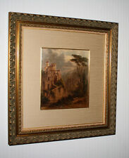 """Signed FREDERICK DeBourg RICHARDS Oil Painting, Frame, """"Temple of the Sybil"""" COA"""