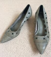 TOPSHOP Kitten Heel Pointed Toe Court Shoes. Teal Blue, Silver Studded. Size 6