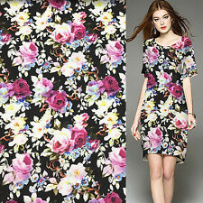Beautiful floral print 60% silk chiffon and 40% spandex fabric 11momme,SCF040