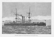 HMS Royal Sovereign Royal Navy Line of Battle Ship - Antique Print 1891