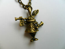 Lovely Alice in Wonderland Rabbit  Bronze Curb Chain Necklace