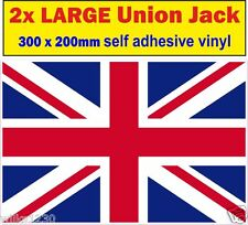 2 Large 300mm union jack decal stickers adhesive vinyl jdm Euro Drift vw car van