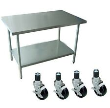 Restaurant Stainless Steel Kitchen Work Prep Table 30 x 60 w/ 4 Casters (Wheels)
