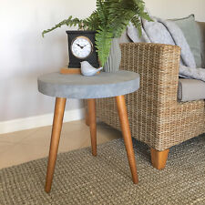 Concrete Look Side Table/Modern Look Bedside Table/Round Occasional Table