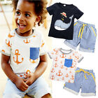 Summer Baby Kids Boys Clothes Short Sleeve Tops T-shirt Pants Outfits Sets 1-7Y