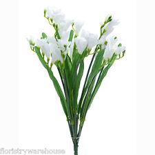 Seda Artificial Fresia blanco ramo flores boda 50cm