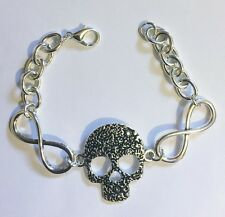 Sugar Skull Infinity Charm Bracelet, Rockabilly Steampunk, Goth, Day of the Dead