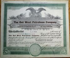 Oil: 'Out West Petroleum Company' 1919 Stock Certificate - Colorado Co
