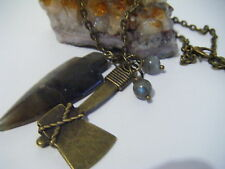 VIKINGS Necklace Axe Labradorite Spear Northern History Channel Ragnar Floki