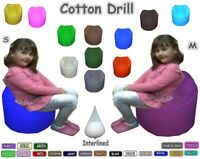 Cotton Drill Beanbag Kids Bean Bags 2 Sizes Interlined & Filled