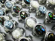 wholesale lots jewelry 5pcs Abalone Shell silver plated rings New free J74