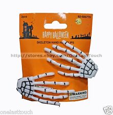 MOMENTUM BRANDS 2pc Set SKELETON HAND Hair Clips HALLOWEEN Punk/Goth WHITE 2/2