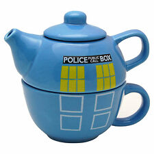 DR.WHO POLICE PHONE BOX TEAPOT FOR ONE -  Tardis Tea Pot Cup Set - DOCTOR WHO