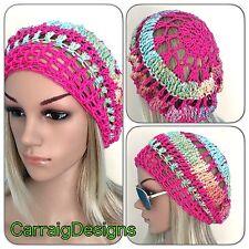 HANDMADE Cotton Womens teen Slouchy Beanie hat beret crochet tam Spring Summer