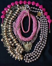 5 Beautiful Hand Beaded Pink Necklaces Lot for Crafting or Repair Glass & Pearls