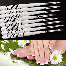 8PCS Dedicated Beauty Zebra Nail Art Dotting Manicure Paint Draw Brush Pen Tools