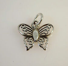 .925 Sterling Silver Open BUTTERFLY w Circle Detail CHARM NEW Pendant 925 BF06