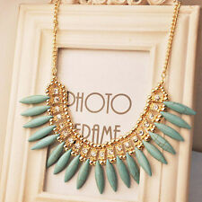 Gold Plated Chain Turquoise Beads Charm Choker Collar Necklace Pendant Statement