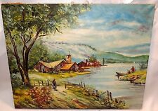 Mystery Antique Oil on Canvas Landscape Painting - Signed