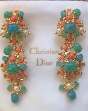 1967 Christian DIOR Germany Duster Cabochon Earrings Casty's Paris Box Mogul