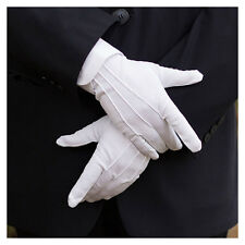 1 Pair White Formal Gloves Tuxedo Honor Guard Parade Santa Mens Inspection