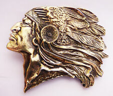 Indian Chief Vintage 1970's Brass Bergamot Belt Buckle