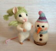 NEEDLE FELTED MOUSE SNOWMAN SNOWBALL CHRISTMAS ARTIST MAGIC ART WOOL NEW