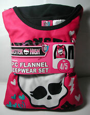 Brand New Girls MONSTER HIGH Flannel Pajamas 2 piece Sleep wear Set Size 4/5