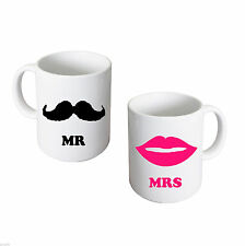 Couples Gift Set Mr & Mrs Mugs Mr Moustache and Mrs Pink Lips