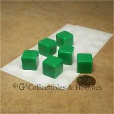 NEW Set of 6 Blank Dice - 16mm Green - RPG Game Math D6