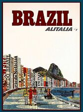 Brazil Alitalia Airlines South America  Vintage Travel Advertisement Art Poster