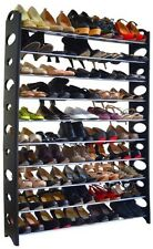 10 Tier Shoe Rack 50 Pair Wall Black Shelf Closet Organizer Storage Box Stand