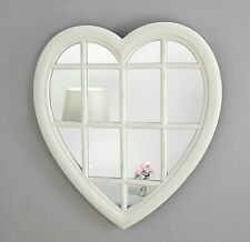"Rossi Vintage White Shabby Chic Heart Window Wall Mirror 28"" x 26"" Large"