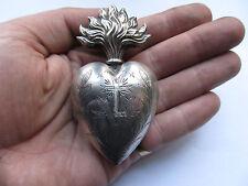 Coeur de Marie Reliquaire Ex Voto Sacred Heart of Mary XIX argent massif